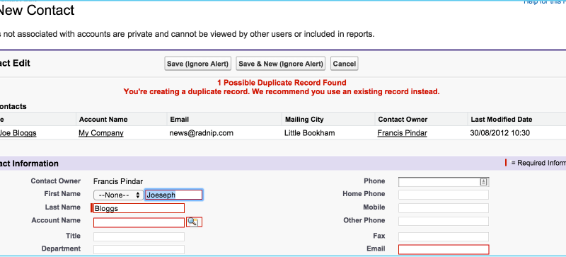 Adding columns to Salesforce Duplicate Management Result